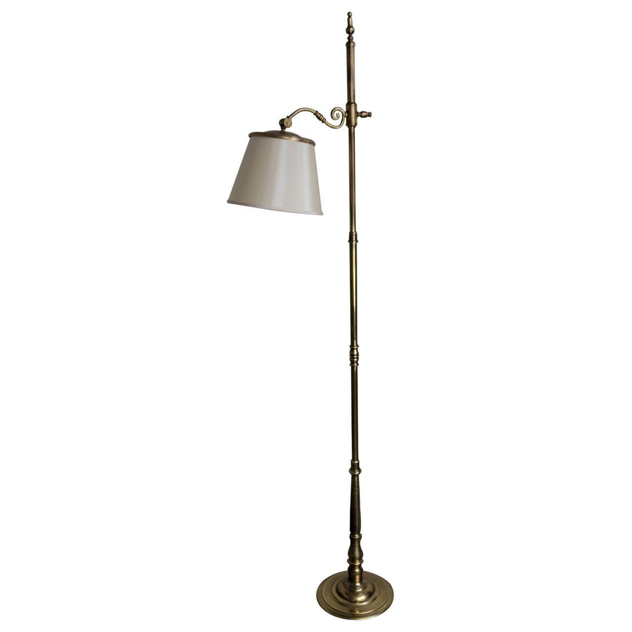 French 1940s Brass Adjustable Reading Floor Lamp For Sale