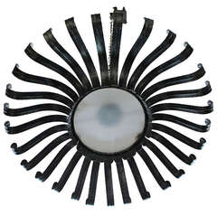 Very Large Silvered Flush Mounted Sunburst Ceiling Fixture with Frosted Glass
