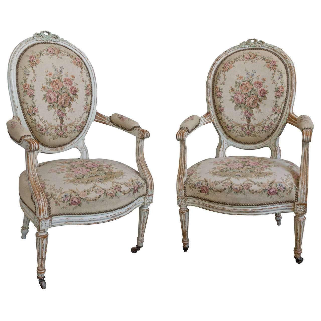 Pair of French 19th Century Louis XVI Style Armchairs in Petit Point Fabric  1Pair of French 19th Century Louis XVI Style Armchairs in Petit  . Louis Xvi Style Furniture For Sale. Home Design Ideas