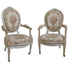 Pair of French 19th Century Louis XVI Style Armchairs in Petit Point Fabric