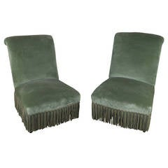 Pair of French 19th Century Napoleon III Scrolled Back Slipper Chairs