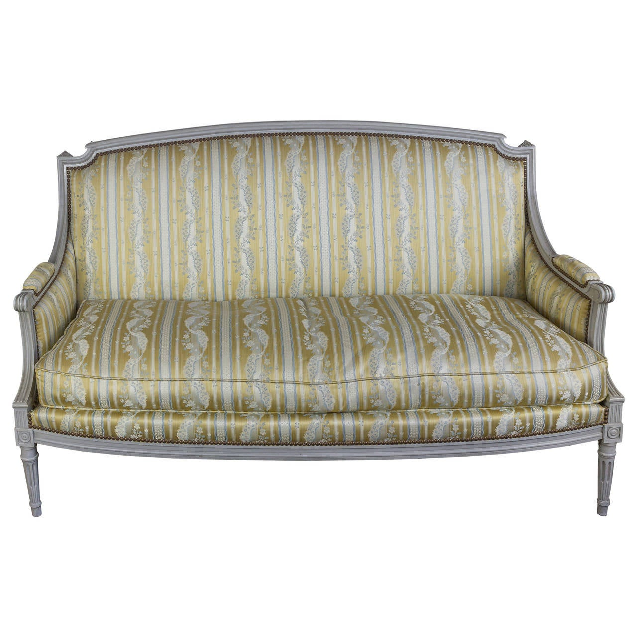 French Louis XVI Style Sofa with Painted Carved Frame