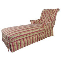 Large French 19th Century Napoleon III Chaise Longue in Striped Patterned Fabric