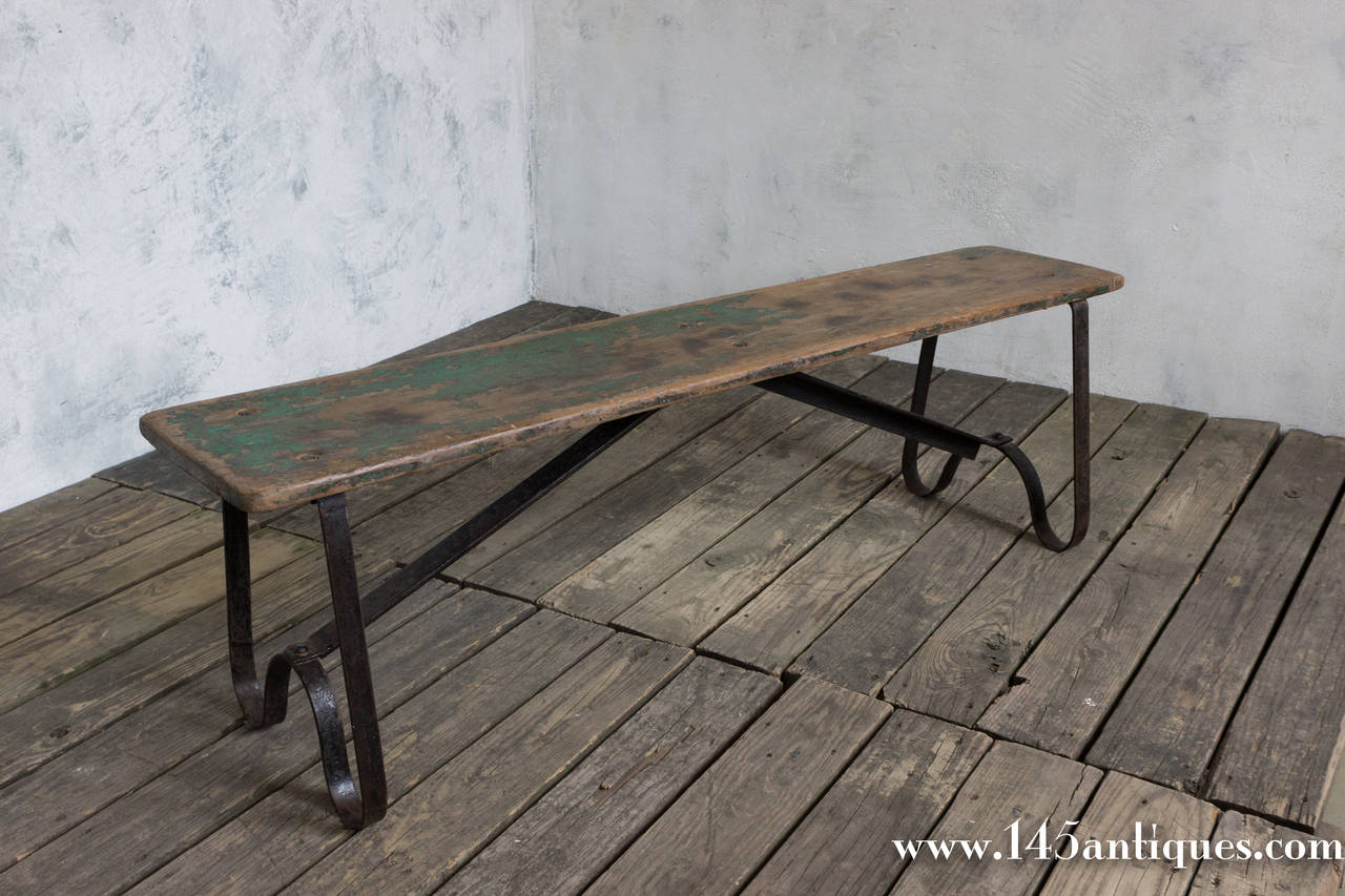 Small Iron And Wood Bench At 1stdibs