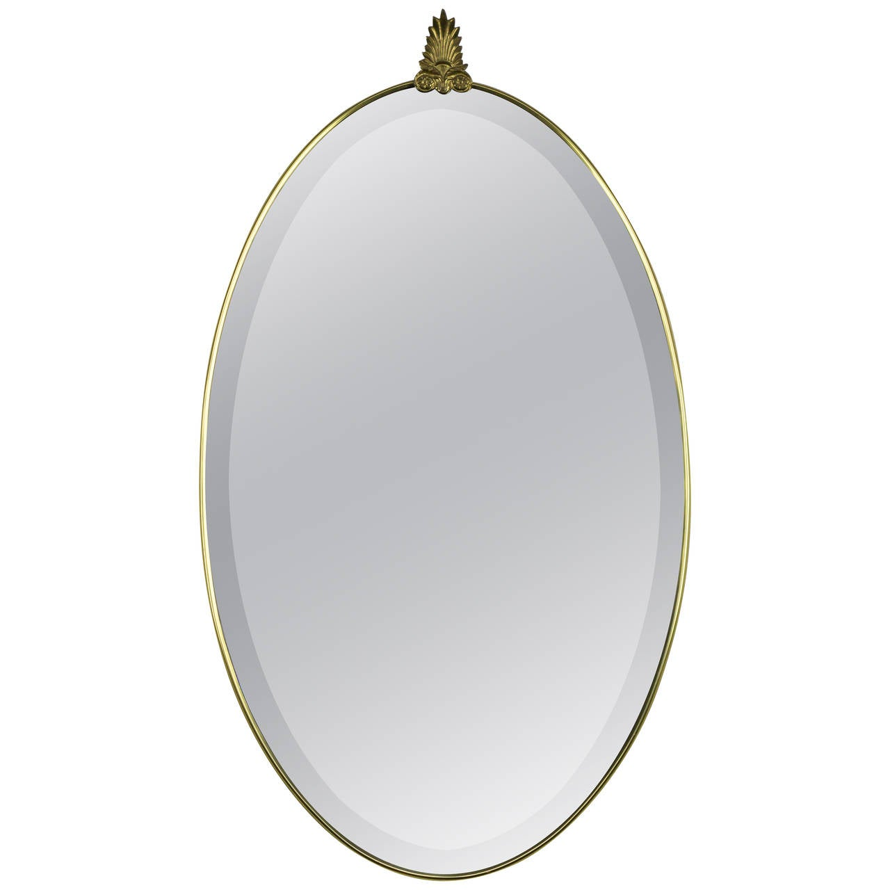 Oval italian bevel mirror in brass frame with decorative