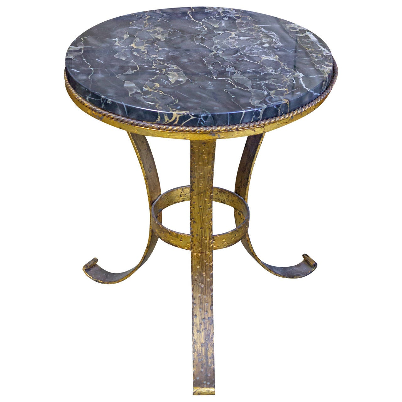 Round Spanish Coffee Table With Marble Top At 1stdibs