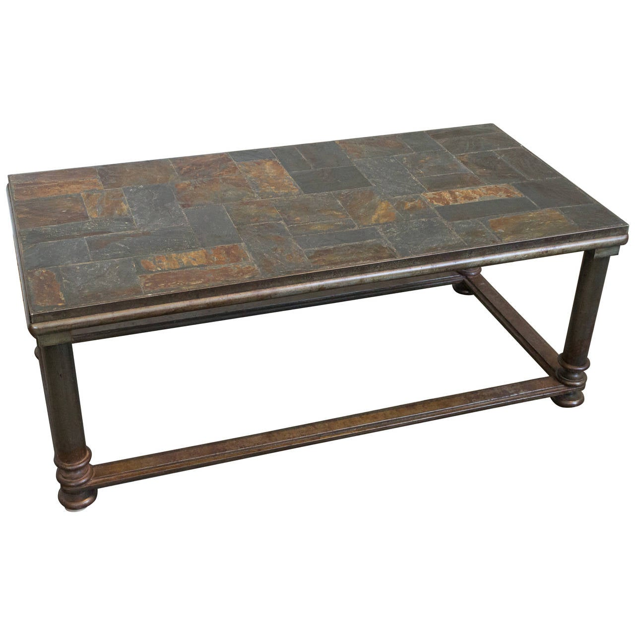 Unusual french stone and iron coffee table for Stone and iron coffee table