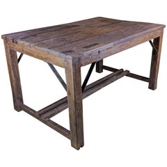 Large French Industrial Work Table