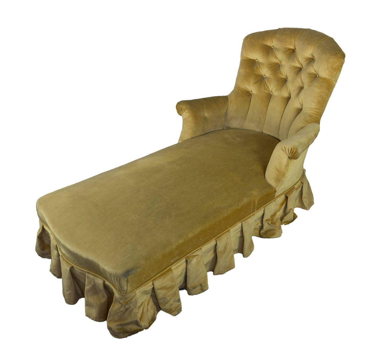 French 19th chaise longue in gold velvet with skirt for for Chaise longue france