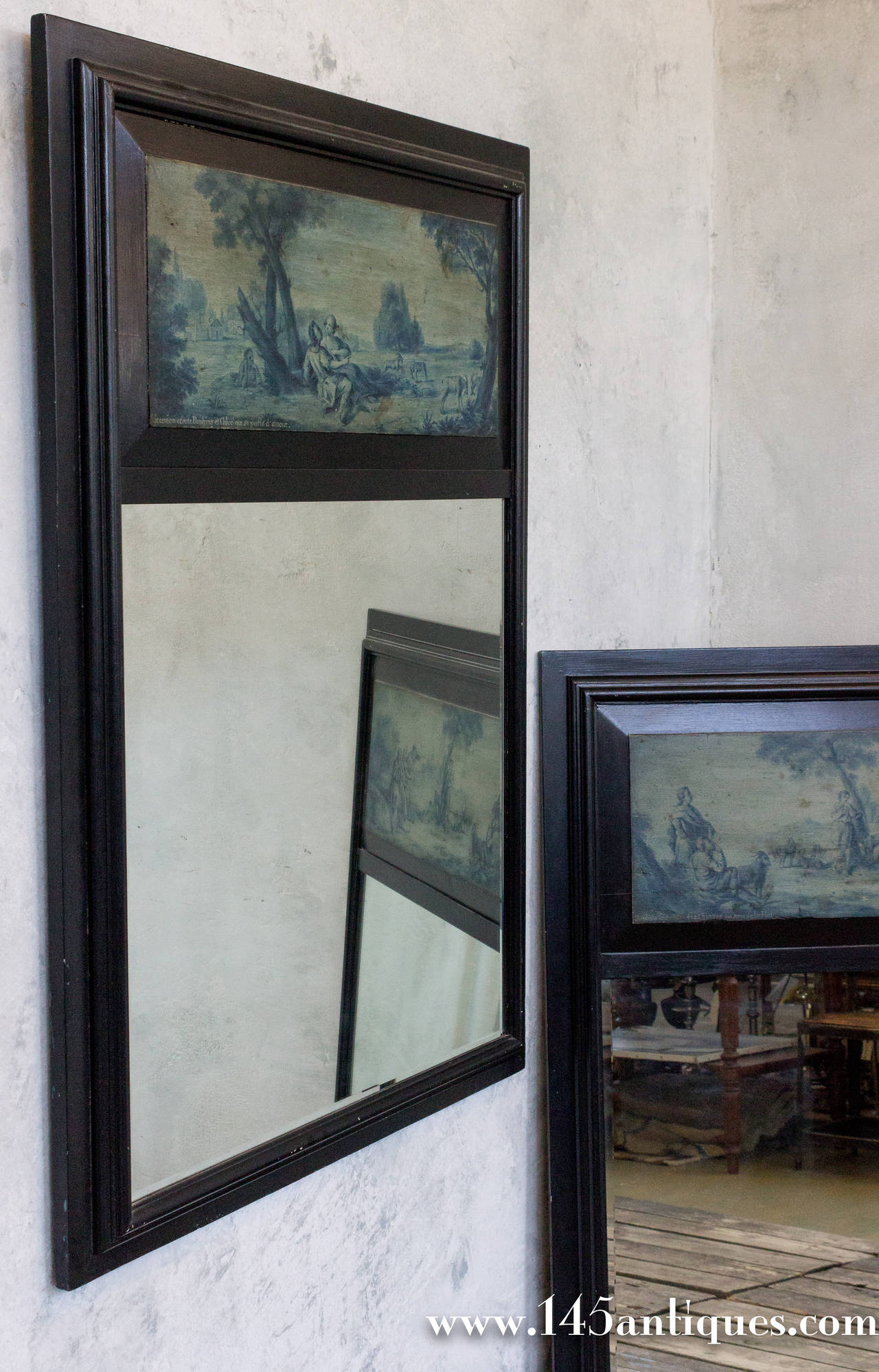 Pair of French 19th Century Trumeau Mirrors For Sale 2