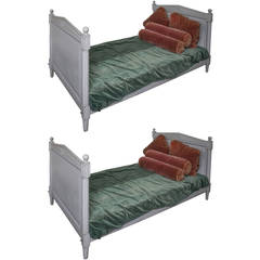 20th C. Pair of French Directoire Style Wooden Twin Beds