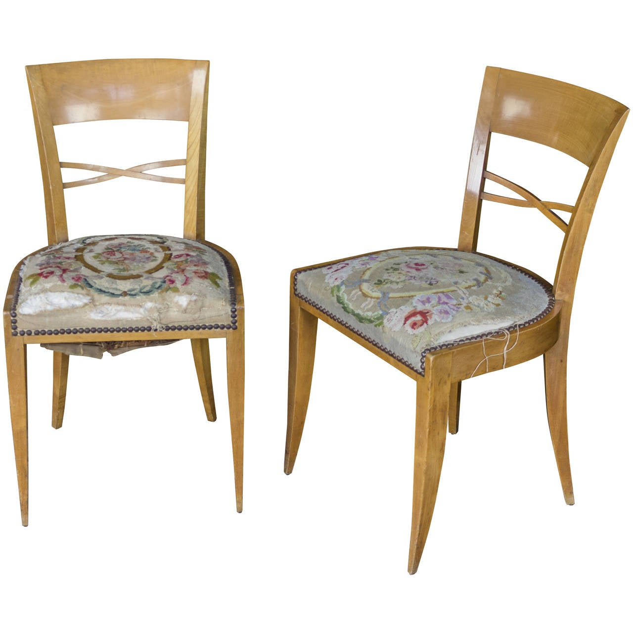 Pair of French Side Chairs with Embroidered Seats