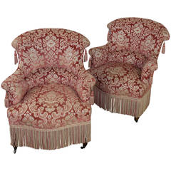 19th Century French Pair of Napoleon III Armchairs with Fringe and Tassels