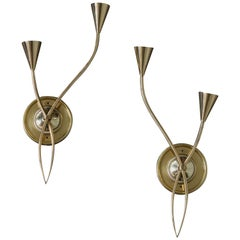 Pair of French 1960s Brass Sconces by Lunel