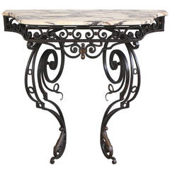 19th Century Wall-Mounted, Wrought Iron Console with Marble Top