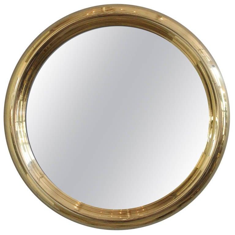 round brass frame mirror 1