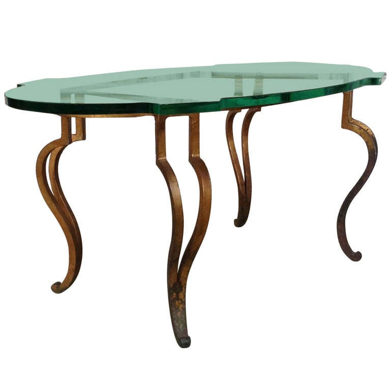 Italian Gilt Iron Coffee Table With Glass Top At 1stdibs