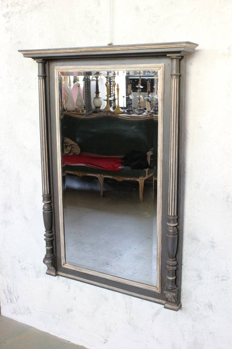 French 19th century carved columned mantel mirror for sale for Mantel mirrors