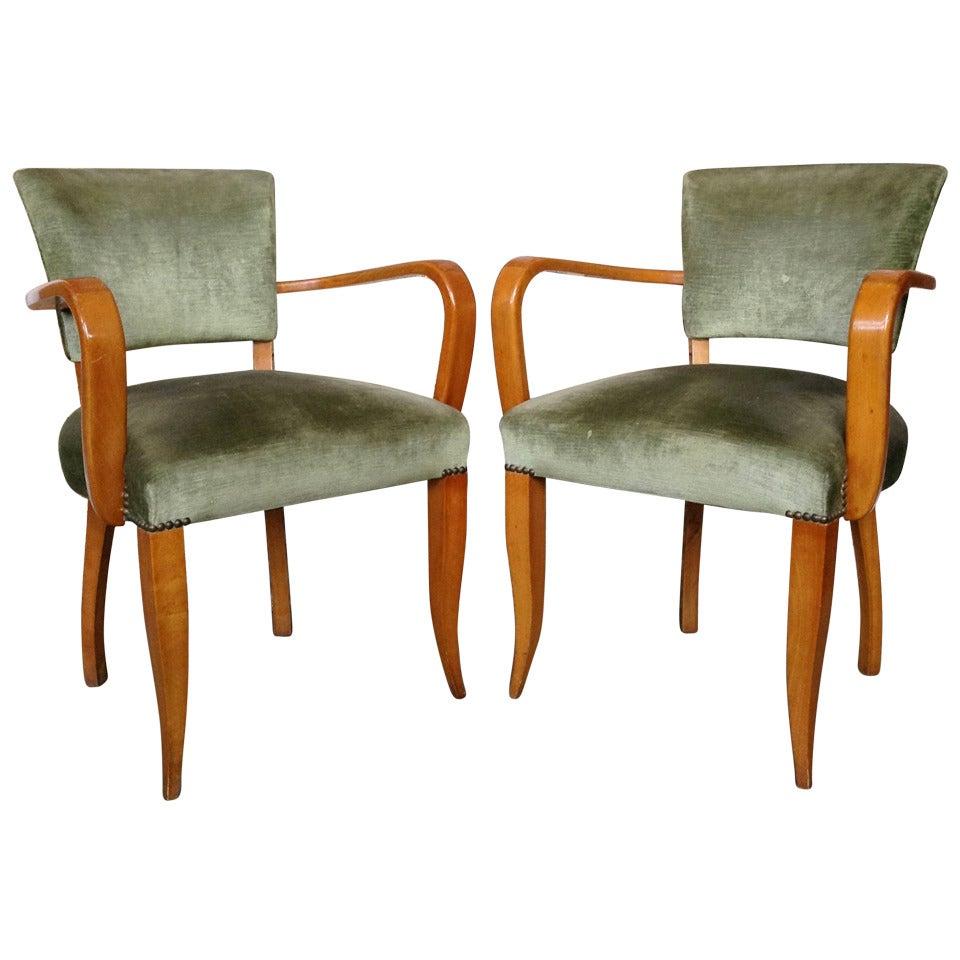 Pair of French 1940s Bridge Armchairs
