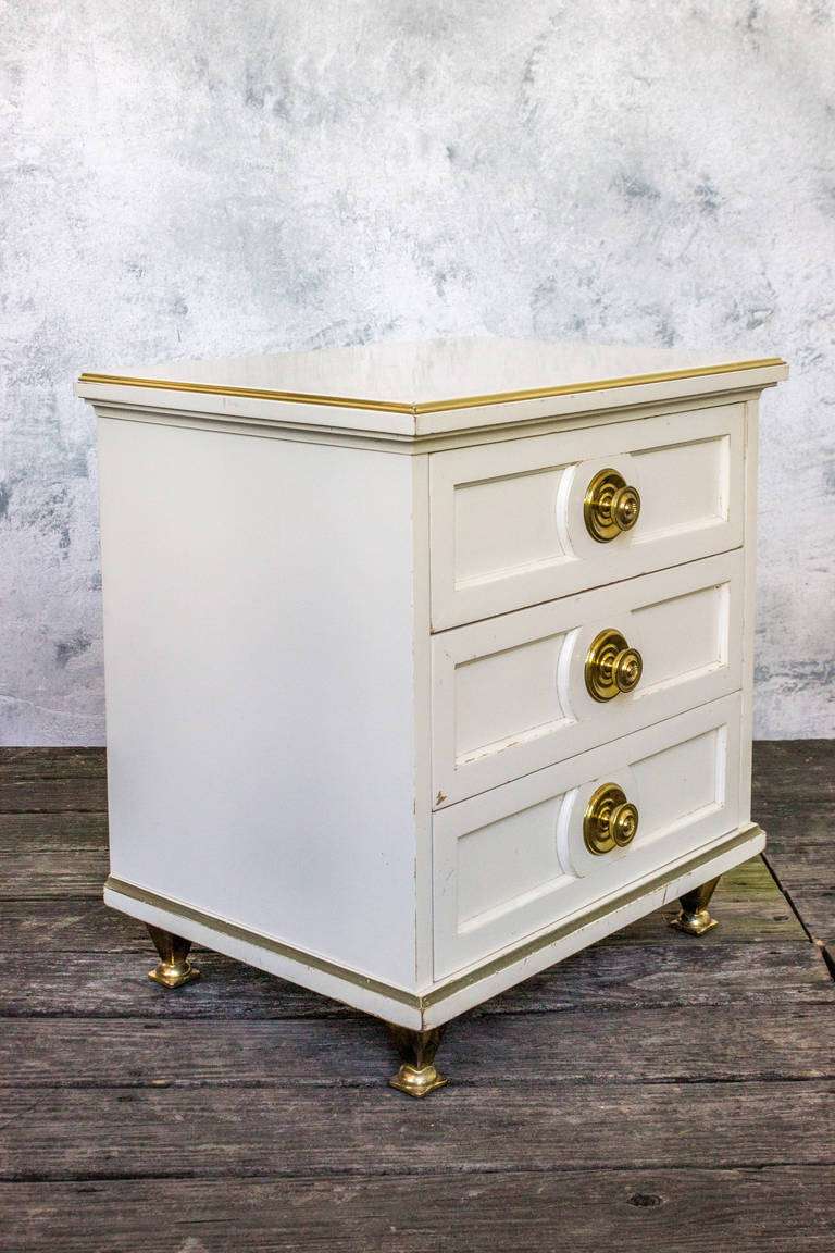 Single White Lacquered Mid Century Modern Nightstand With Brass Trim