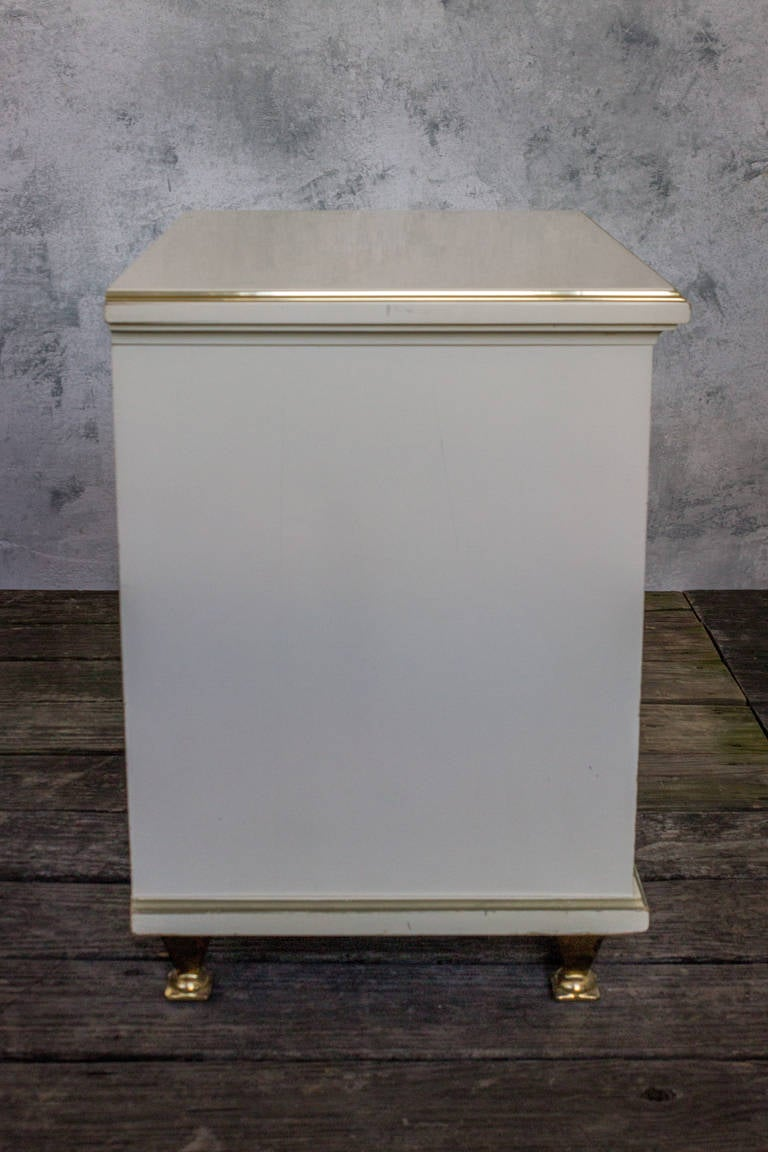 Single White Lacquered Mid Century Modern Nightstand With Brass Trim For Sale At 1stdibs