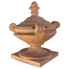 Covered Terracotta Decorative Urn