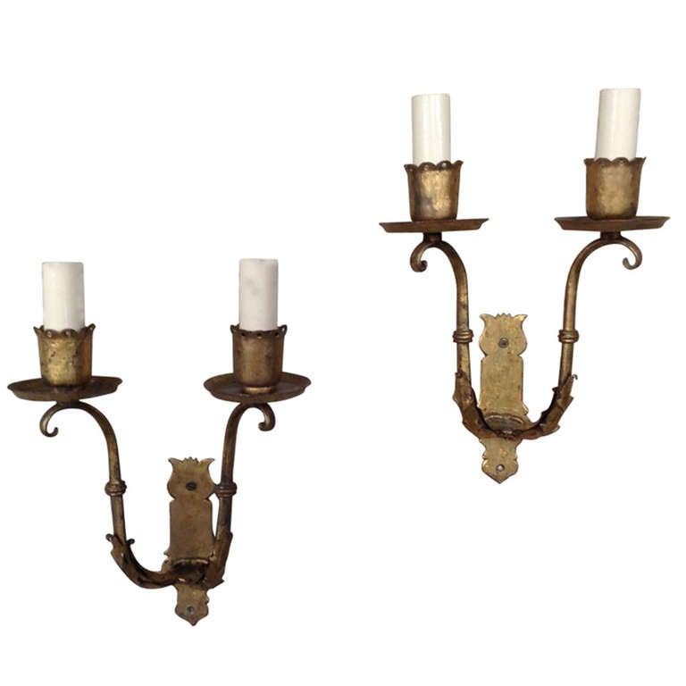 Wall Sconces En Espanol : Pair of Spanish Gilt Iron Sconces at 1stdibs