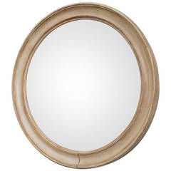 Convex Mirror in Round Wooden Frame