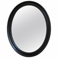 Large Napoleon III  Oval Mirror with Black Painted Frame