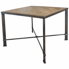 French Iron Table with 19th Century Wood Top