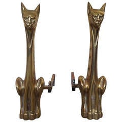 Pair of Polished Brass, Cat Andirons