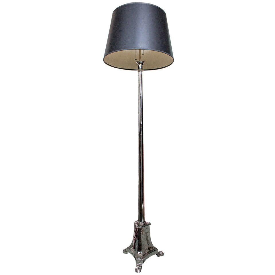 French Neoclassical Style Nickel Plated Floor Lamp For