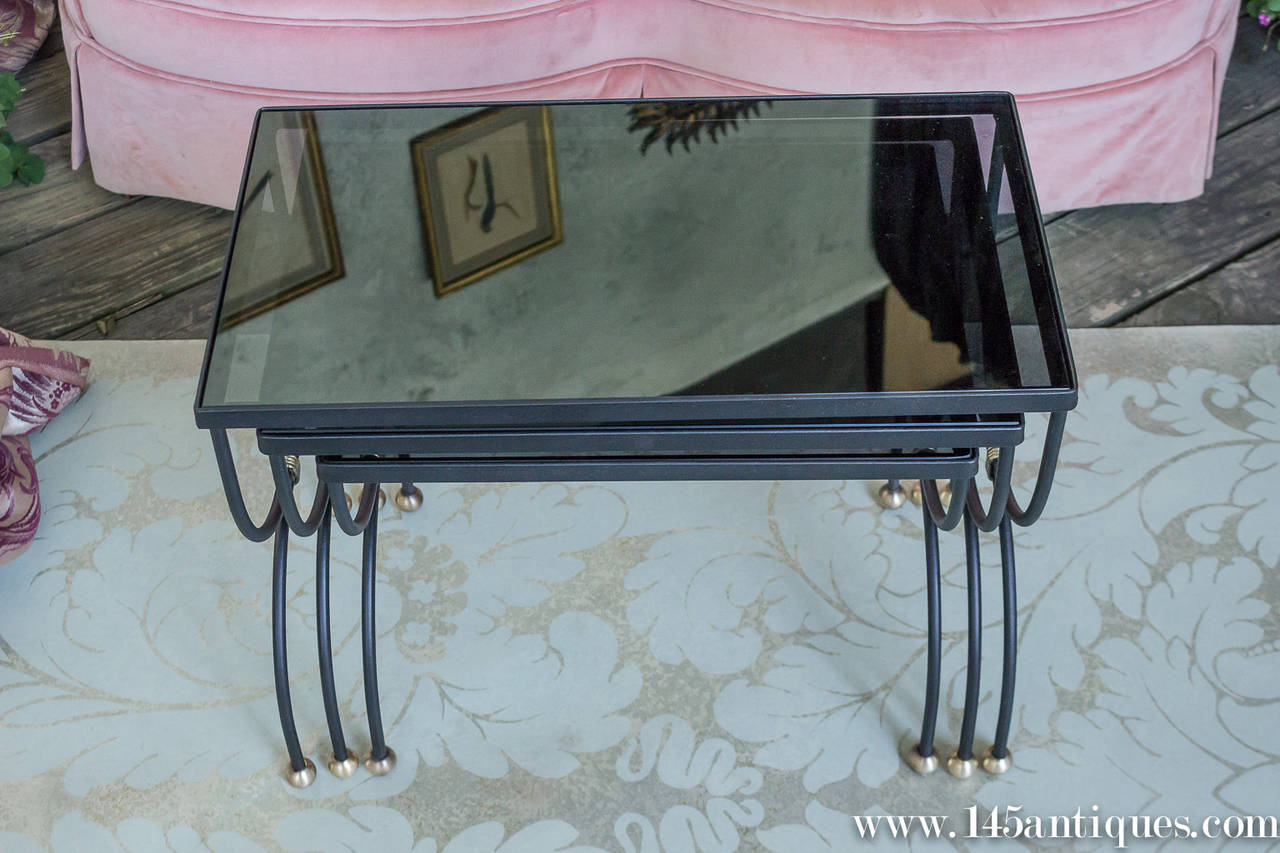 Nesting tables with glass tops almirah beds wardrobes and furniture Glass furniture tops