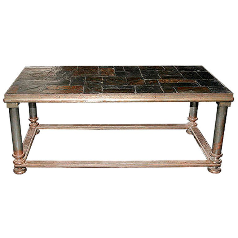 Iron And Slate Coffee Table At 1stdibs