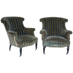 Pair of 19th Century Chairs in Striped Velvet