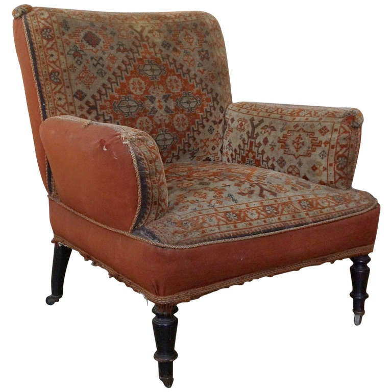 19th Century Napoleon III Armchair in Vintage Tapestry Fabric For Sale