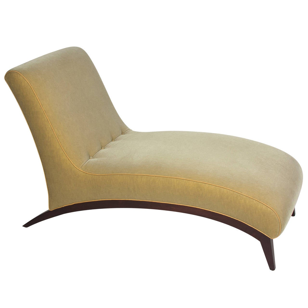 1930s style mahogany and upholstered silk shaped chaise for 1930s chaise lounge