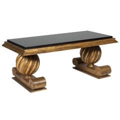 Gold and Black Glass Coffee Table in the Style of Charles Moreux, French, 1940s