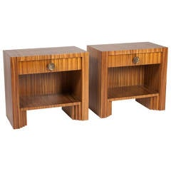 Zebrawood Single-Drawer End Tables, Austrian, 1938