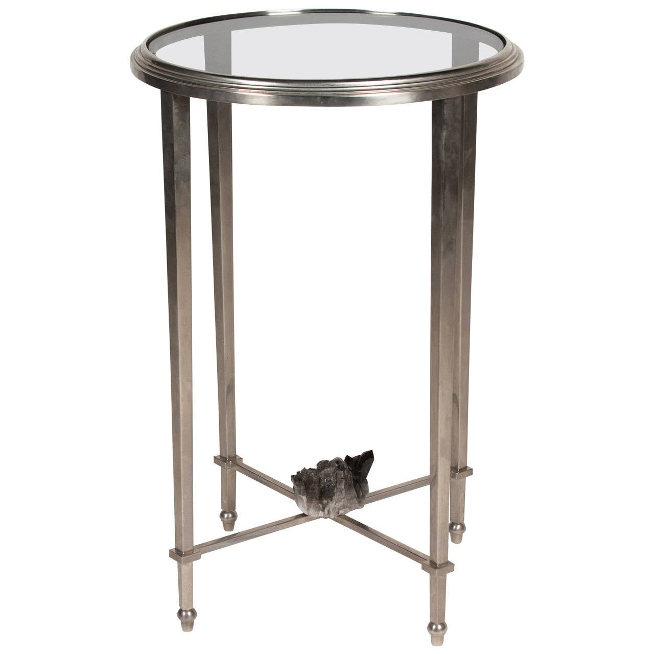 49 Coffee Table Nickel Finish Solid Iron Casters: Geode Mounted Nickel End Table, French, 1970s At 1stdibs