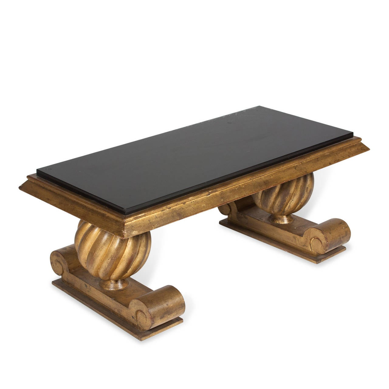Gold And Black Glass Coffee Table In The Style Of Charles Moreux French 1940s For Sale At 1stdibs
