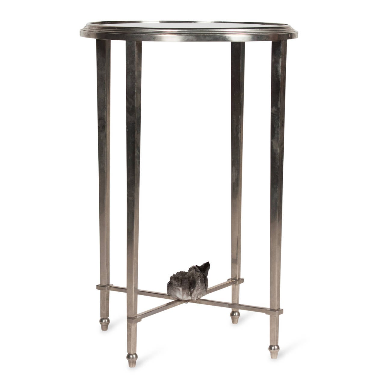 Geode mounted nickel end table french 1970s at 1stdibs for Geode side table