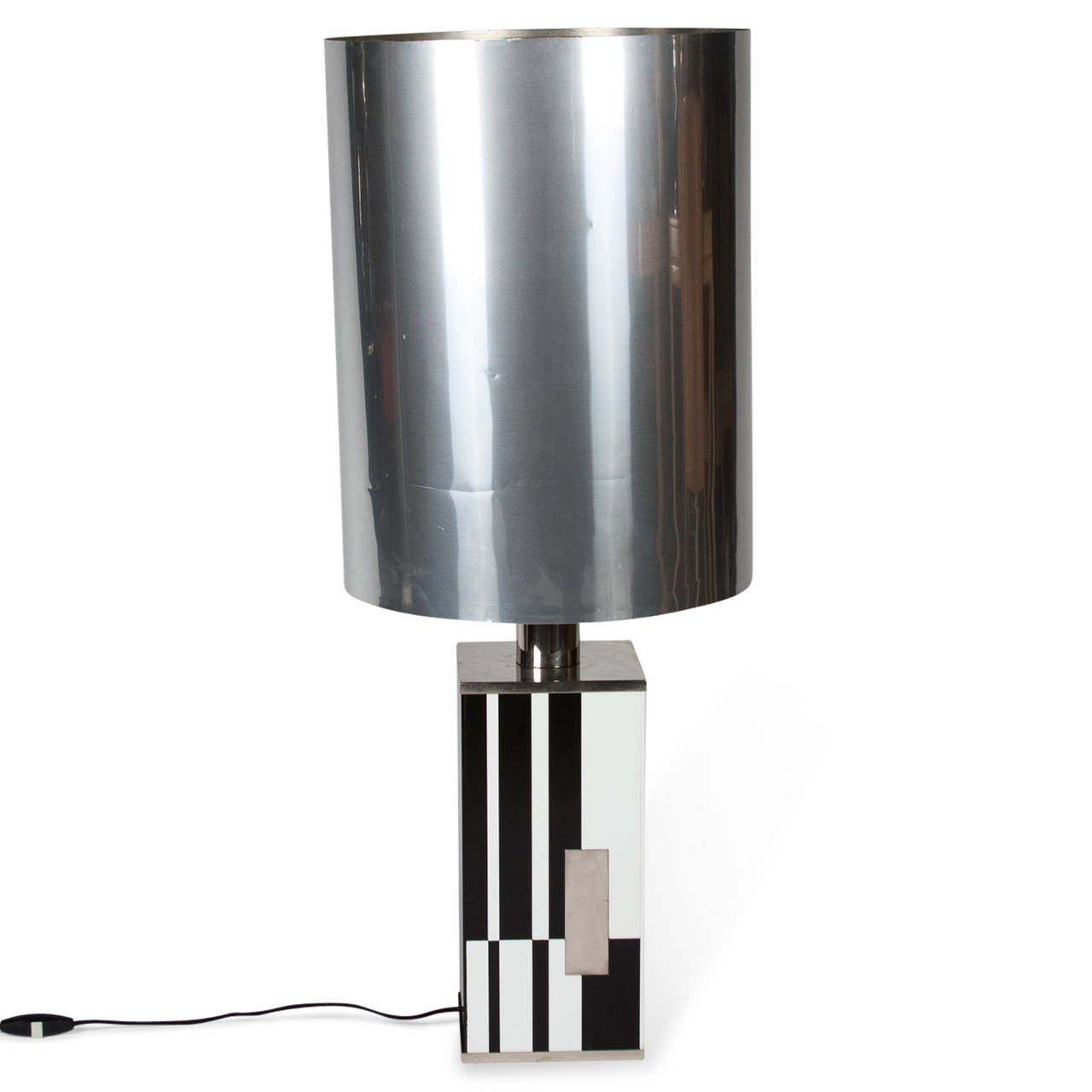 Black And White Tiled Table Lamp Italian Circa 1970 For