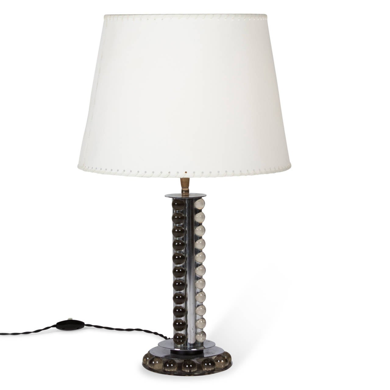 stacked glass ball and nickel table lamp attributed to. Black Bedroom Furniture Sets. Home Design Ideas