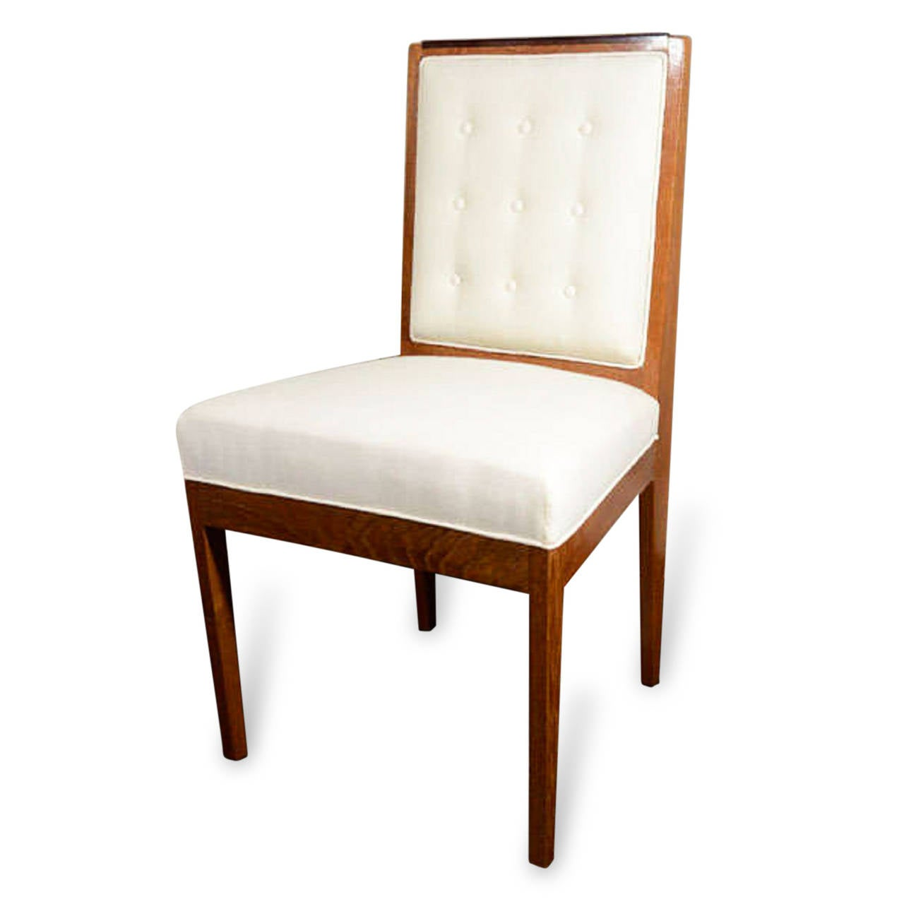 Set of six upholstered dining chairs french circa 1940 for Upholstered dining chairs for sale