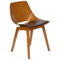 Original Molded Wood Chair by Pierre Guariche, French, 1950