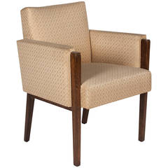 Mahogany Armchair in the Style of Jules Leleu, French, 1930s