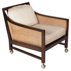 Mahogany and Caned Armchair by Edward Wormley, American, 1960s