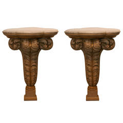 Pair of Plaster Console Tables by Maison Jansen, French, 1940s