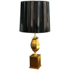 Single Bronze Table Lamp by Charles et Cie, French, 1940s